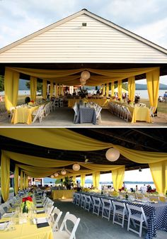 After!  Switched out picnic tables, added long ones, then bought large bolts of fabric to use as tablecloths and drape from above.  WOW!!