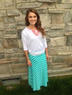 Mint and White Polka Dot Maxi Skirt   The Jean Girl Shop