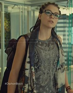 Cosima's grey lace tank top on Orphan Black.  Outfit Details: http://wornontv.net/31871/ #OrphanBlack