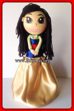 This is a handmade doll inspired in Mulan. In my version of fofucha. She is about 12inches weight of the decor is approx 08 oz. Is your child having a Princess theme party? Take a look at this fofucha doll. She can be an eye catching Centerpiece or caketopper. I can make custom fofuchas just get in contact with me. Like us at www.facebook.com/FofuchasHandmadeDolls #PrincessParty #disney #birthdayIdeas #Mulan
