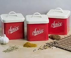 NEW RED & WHITE VINTAGE RETRO SET OF 3 TIN SPICE CANISTERS