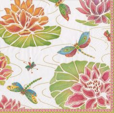 Caspari Jeweled Pond ivory Dragonflies Floral Printed 3-Ply Paper Cocktail Beverage Napkins Wholesale 13860C