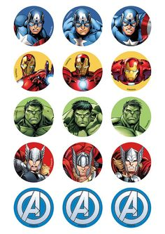 CAKE - Avengers A Team cupcake edible icing 15 toppers - Visit to grab an amazing super hero shirt now on sale! Avengers Birthday, Superhero Birthday Party, Birthday Parties, 4th Birthday, Avenger Party, Avenger Cupcakes, Avenger Cake, Hulk Party, Iron Man Party