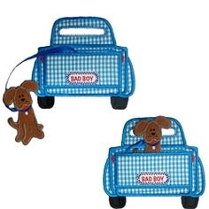 In The Hoop, 3D Truck with Dog - 3 Sizes! | Tags | Machine Embroidery Designs | SWAKembroidery.com Band to Bow