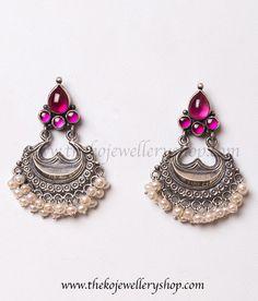 925 sterling silver pearl earrings for women #SilverOxidisedTempleJewellery #TempleJeweleryAntique