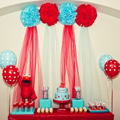 Red and Turquoise Elmo Party for Asiah's first birthday, um yes I think so!