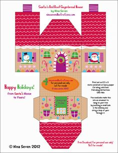 Paper Gingerbread house 2 Template free download