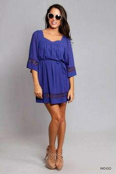 *BEST SELLER!* Indigo Bell Sleeve Dress
