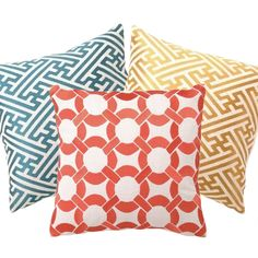 Love these patterns and colors! Cross Hatch Linen Pillow