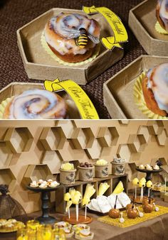 """Bee Thankful"" Themed Thanksgiving with a crafted honeycomb backdrop, beehive cake pops, buralp containers with candy and kettle corn cones."