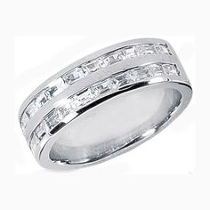 Straight Baguette Men's Wedding Band 1.73 tcw. Channel Set in 14K White Gold
