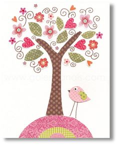 Nursery art prints, baby nursery decor, nursery art,  Birds Tree Pink, Magnifique 8x10 print from Paris by GalerieAnais. $14.00, via Etsy.