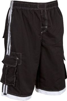 Mens Solid Color with Contrast Stripes Skate Surf Board Short / Swim Trunks - (Various Colors and Sizes upto 4XL)