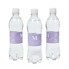 We'd have to buy water, but these would be nice for the guests while they are waiting for the event to start? Personalized Lilac Monogram Wedding Bottle Labels - OrientalTrading.com