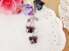 Amethyst Crystal Butterfly Accessory Strap Phone by PrettySang, $8.00