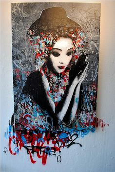 by Hush - Project 'Today's Geisha'. *Japanese artist Hush mixes techniques of collage, graffiti, stencil, painting and drawing to create his geisha inspired works.