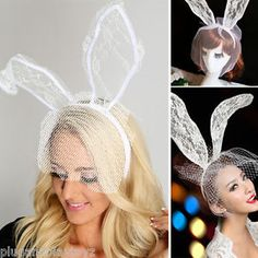 White Bridal Boudior Lingerie Fascinator Floral Lace Bunny Ears Fishnet Headband in Clothing, Shoes & Accessories, Women's Accessories, Hats | eBay
