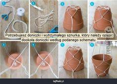 DIY - wisząca doniczka - Potrzebujesz doniczki i wytrzymałego sznurka, który należy opleść  dookoła doniczki według podanego schematu.
