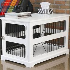 Archie & Oscar™ Archie Slide Aside Pet Crate & Reviews | Wayfair Crate End Tables, Dog Crate Furniture, Crate Cover, Wood Slats, Furniture Styles, Pet Beds, Archie, Design, Home Decor