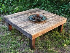 Farmhouse Reclaimed Wood Coffee Table Square by RusticHomeandPorch