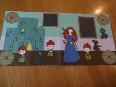 Princess Merida with Triplets and Bears layout using Cricut Princess Believing in Dreams cartridge. Embossed with Braid WR Memory Keepers folder and Basket Sizzix Embossing folder. Arrows cut with die from Stampin Up. Disney Scrapbook Pages, Scrapbooking Layouts, Princess Merida, Triplets, Disney Princesses, Embossing Folder, Arrows, Binder, Fairies