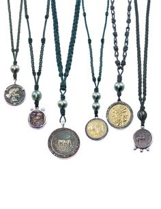ancient coin necklaces, saltwater tahitian pearl, italian leather, bohemian/mediterranean style jewelry
