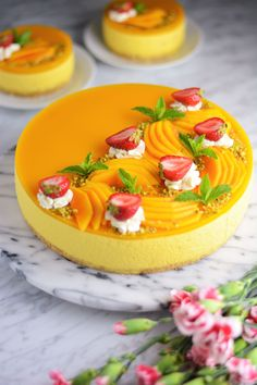 Mango Mousse Cake, Mango Cheesecake, Mango Cake, Cheesecake Recipes, Mango Dessert Recipes, Mango Recipes, Fancy Desserts, No Bake Desserts, Cheesecakes