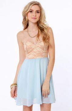 Nude and light blue dress ♡