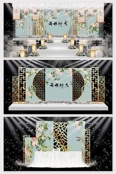 New Chinese blue wedding stage renderings Wedding Reception Themes, Indian Wedding Receptions, Wedding Stage Design, Wedding Stage Decorations, Engagement Decorations, Wedding Mandap, Wedding Table, Wedding Ideas, Table Decorations