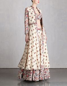Printed Khadi Jacket and Lehenga Set