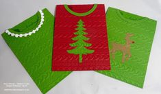 Christmas Sweater/jumper cards made using the new Cable Knit Dynamic Embossing…