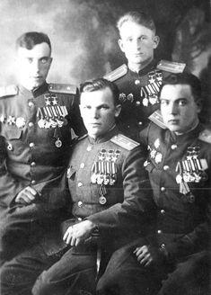 SOVIET AVIATION in the years 1941-1945 WW2. Soviet pilots heroes of the Soviet Union - L. Beda, M. Stepanishchev, I Kozhedub, M. Gareev
