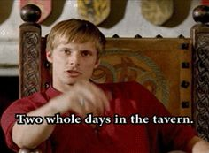 That awkward moment when Arthur thinks merlin is an alcoholic
