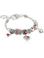 """Silver-Tone Heart Charm Bracelet, 7.5"""" - $26.00 www.jewelryandwatches.co.za"""