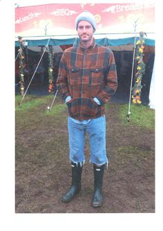 We can see he's got his wellies on alright--but can we really call those pants of his shorts? More like cutoffs? Oh well, kudos to him for allowing himself to be seen in public like this