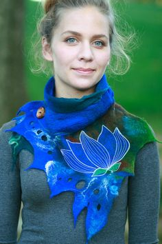 Nuno felted scarves - Felted Scarf - Felt Cowl - Blue Lotus