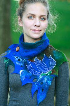 Nuno feutré foulards - foulard feutré - feutre capot - Lotus bleu