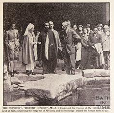 Haile Selassie at the Roman Baths, Bath, August 1936