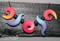 polymer clay,  inspired by Donna Kato's striped beads