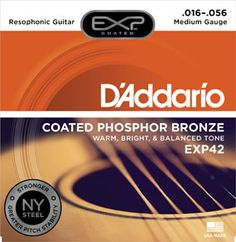 EXP42 Coated Phosphor Bronze, Resophonic, 16-56 : EXP Coated phosphor bronze for warm, bright, well balanced acoustic tone and 4 times more life :  Features our exclusive New York manufactured, high carbon steel for unprecedented strength and pitch stability. Environmentally friendly, corrosion resistant packaging for strings that are always fresh String Gauges: Plain Steel .016, .018, Phosphor Bronze Wound .028, .035, .045, .056