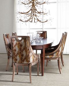 -57M0 Old Hickory Tannery Arcady Dining Chair & Allerton Dining Table
