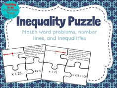 Solving One Step Inequalities Puzzle. For students learning how to solve and graph inequality word problems, they can practice with this puzzle and they can self check. There are 16 puzzles. Math Teacher, Math Classroom, Teaching Math, Teaching Ideas, Teacher Stuff, Classroom Ideas, Math Resources, Math Activities, Math Games