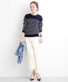 ネイビーのボーダーと白の太パンツで 爽やかな大人っぽいマリンコーデに。  #spring #navy #WhiteJeans #outfits #style #Fashion