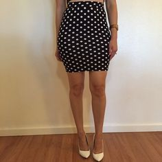 Polka Dot Bodycon Pencil Skirt (LAST MEDIUM!) Polka Dot Bodycon Pencil Skirt. Brand new. Never worn. No flaws. Available in S-M-L. 87% polyester, 13% spandex. Model is wearing a small for reference. 15% discount on all 3+ item bundles made with the bundle feature. No Paypal. No trades. No offers will be considered unless you use the make me an offer feature.    👉 Please follow 📱 Instagram: BossyJoc3y 👠 Blog: www.bossyjocey.com Skirts Pencil