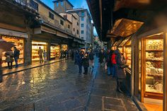 The jewelry shops on the Ponte Vecchio bridge, Florence, Italy