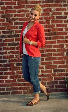 Goodwillista: Coral blazer, boyfriend jeans, & leopard flats