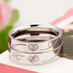 Love Heart Print Cubic Zirconia 925 Sterling Silver Plated White Gold Lover's Rings