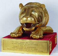 The Royal Collection: Indian Gold tiger head Presented to William IV by the East India Company, 1831 Collections D'objets, Ruby And Diamond Necklace, Gold Sheets, Royal Collection Trust, East India Company, Mughal Empire, Tiger Head, Ancient Symbols, Lion Sculpture