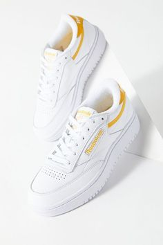 Shop Reebok UO Exclusive Club C Double Sneaker at Urban Outfitters today. We carry all the latest styles, colors and brands for you to choose from right here. Vintage Sneakers, Retro Sneakers, Retro Shoes, Best Sneakers, Casual Sneakers, White Sneakers, Sneakers Fashion, Adidas Sneakers, Trendy Womens Sneakers
