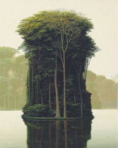 """""""Tree Island"""" by Cuban artist Tomás Sánchez. He is well known for his idealized landscapes that reflect his reverence for the lyrical universe. #dcnart #tomassanchez via @debbytenquist"""